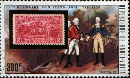 REPUBLIC OF UPPER VOLTA - CIRCA 1975  A stamp printed in the Republic of Upper Volta, is devoted to 200 anniversary of Independence of USA, circa 1975  Stock Photo - 17269506