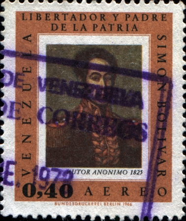 VENEZUELA - CIRCA 1966  A stamp printed in Venezuela shows Simon Bolivar, circa 1966  Stock Photo - 17269465