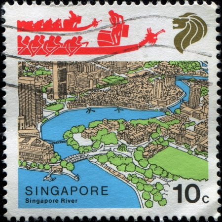 SINGAPORE - CIRCA 1987: Postage stamp printed in Singapore shows Singapore River and Dragon Boats, circa 1987  Stock Photo - 17262144