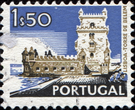 PORTUGAL - CIRCA 1972: A stamp printed in Portugal from the Cities and landscapes issue shows Belem Tower, Lisbon ,circa 1972.