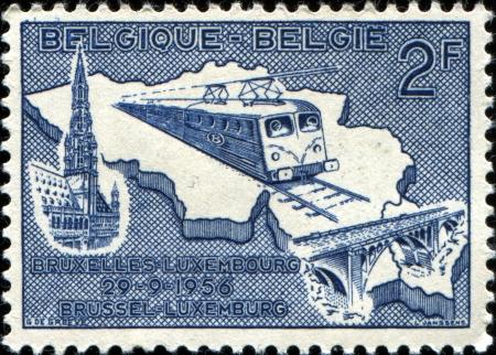 BELGIUM - CIRCA 15649  A railway stamp printed in Belgium shows train Brussel - Luxemburg, circa 1956