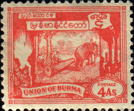 BURMA - CIRCA 1949  A stamp printed in Burma shows Elephant hauling log, circa 1949  Stock Photo - 17269443