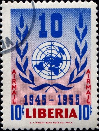 un used: LIBERIA - CIRCA 1955  A stamp printed in Liberia shows UN embleme, circa 1955 Editorial