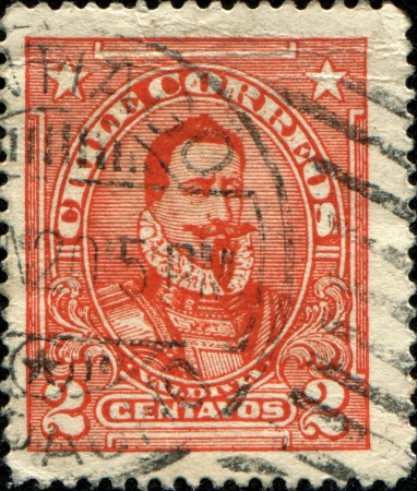 conquistador: CHILE - CIRCA 1904  A stamp printed in Chile shows Spanish conquistador Pedro de Valdivia, circa 1904