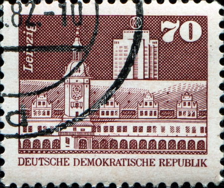 GERMAN DEMOCRATIC REPUBLIC - CIRCA 1973  A stamp printed in GDR  East Germany  shows view of Leipzig, circa 1973  Stock Photo - 17269468