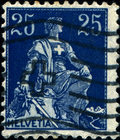 helvetia:  SWITZERLAND - CIRCA 1922  A stamp printed in Switzerland shows Helvetia is the female national personification of Switzerland, circa 1922  Editorial