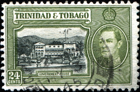 TRINIDAD AND TOBAGO - CIRCA 1938  A stamp printed in Trinidad and Tobago shows Goverment House, circa 1938