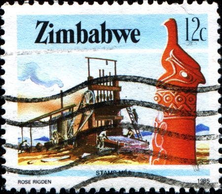 ZIMBABWE - CIRCA 1985  A stamp printed in Zimbabwe shows stamp mill, series, circa 1985  Stock Photo - 17722665