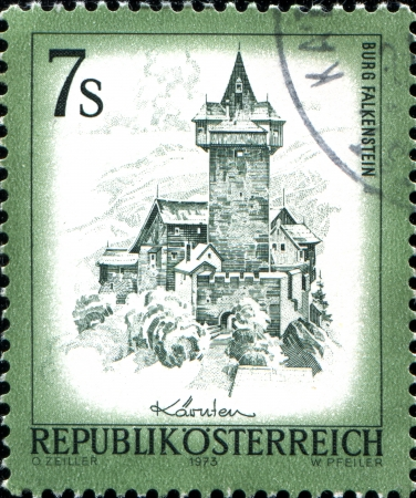 AUSTRIA - CIRCA 1973  A stamp printed in Austria shows Burg Falkenstein, from the series  Sights in Austria , circa 1973 photo
