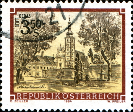 abbeys:  AUSTRIA - CIRCA 1984  A stamp printed in Austria shows  Geras Monastery, Lower Austria,  from the series  Monasteries and Abbeys in Austria , circa 1984