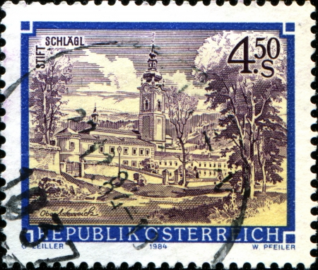 abbeys:  AUSTRIA - CIRCA 1984: A stamp printed in Austria shows  Schkagl Abbey, Upper Austria,  from the series Monasteries and Abbeys in Austria, circa 1984
