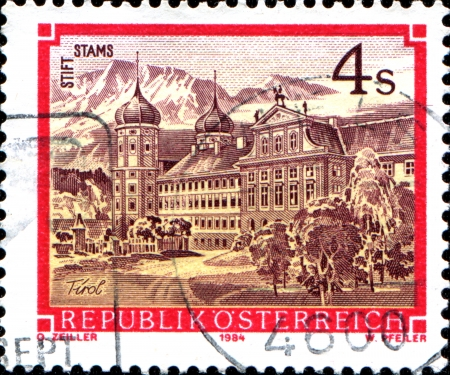 abbeys:  AUSTRIA - CIRCA 1984  A stamp printed in Austria shows Stams Abbey, Tirol, from the series  Monasteries and Abbeys in Austria , circa 1984
