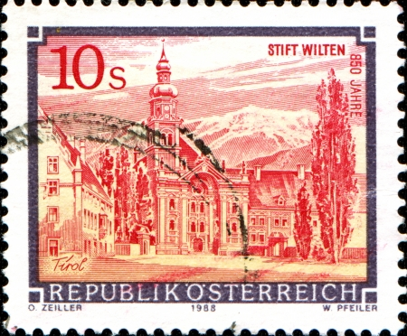 abbeys:  AUSTRIA - CIRCA 1988  A stamp printed in Austria shows  Abbey of  from the series  Monasteries and Abbeys in Austria , circa 1988