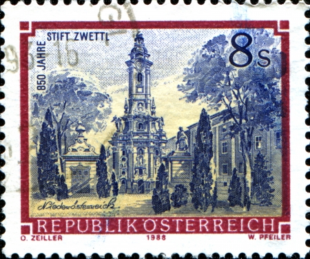 abbeys:  AUSTRIA - CIRCA 1984  A stamp printed in Austria shows  Zwettl Abbey, Niederösterreich,  from the series  Monasteries and Abbeys in Austria , circa 1988