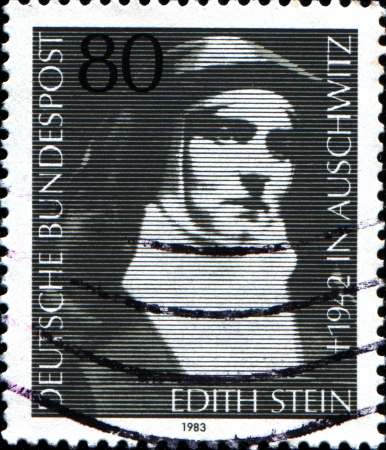 carmelite nun: GERMANY - CIRCA 1983  A stamp printed in German Federal Republic shows  LEdith Stein, , philosopher and Carmelite Nun, circa 1983
