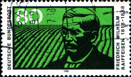 GERMANY - CIRCA 1988  A stamp printed in German Federal Republic shows Friedrich Wilhelm Raiffeisen  - leader of the cooperative movement, circa 1988 Stock Photo - 17950193