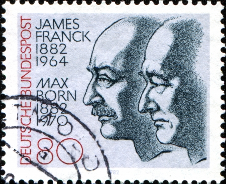 GERMANY - CIRCA 1982  A stamp printed in the Germany, dedicated to the 100th anniversary of the birth Nobel Prize winners James Franck and Max Born, circa 1982  Stock Photo - 17950324