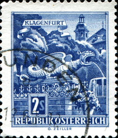 AUSTRIA - CIRCA 1957  A stamp printed in Austria shows Dragon Fountain in Klagenfurt,  from the series  Buildings in Austria , circa 1957 Stock Photo - 17955380