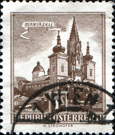 AUSTRIA - CIRCA 1957  A stamp printed in Austria shows Mariazell Basilica,  from the series  Buildings in Austria , circa 1957 Stock Photo - 17955369