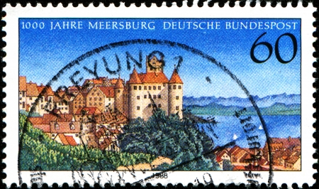 GERMANY - CIRCA 1988  A stamp printed in German Federal Republic shows Town of Meersburg Millennium, circa 1988 photo