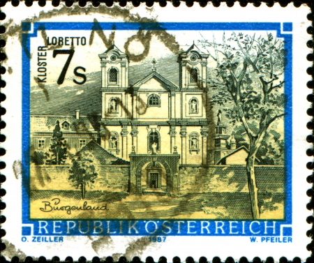 abbeys:  AUSTRIA - CIRCA 1987  A stamp printed in Austria shows  monastery Lobetto, Burgerland, from the series  Monasteries and Abbeys in Austria , circa 1987