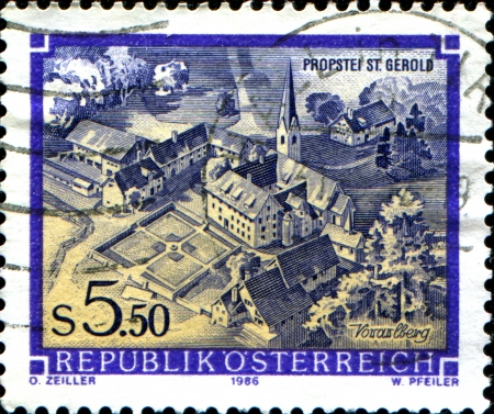 abbeys:  AUSTRIA - CIRCA 1986  A stamp printed in Austria shows  St  Gerold Cathedral Chapter, Vorarlberg,  from the series  Monasteries and Abbeys in Austria , circa 1986