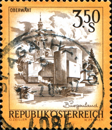 tree service pictures: AUSTRIA - CIRCA 1978  A stamp printed in Austria shows Oberwart, from the series  Sights in Austria , circa 1978