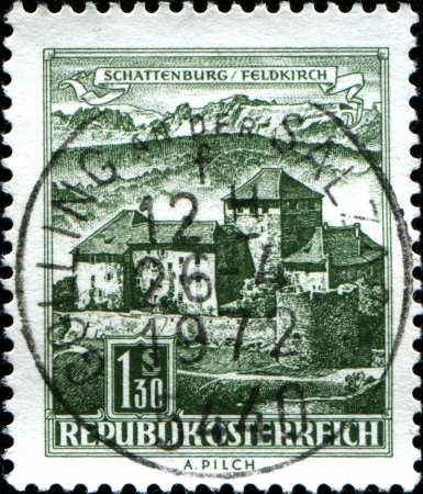 postmail:  AUSTRIA - CIRCA 1967  A stamp printed in Austria showns Schatten Castle, Feldkirch, Vorarlberg, circa 1967  Stock Photo