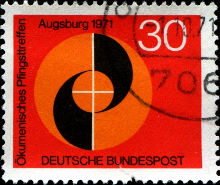 GERMANY - CIRCA 1971  A stamp printed in the Federal Republic of Germany shows Congress Emblem, Ecumenical Meeting at Pentecost of the German Evangelical and Catholic Churches, Augsburg, circa 1971