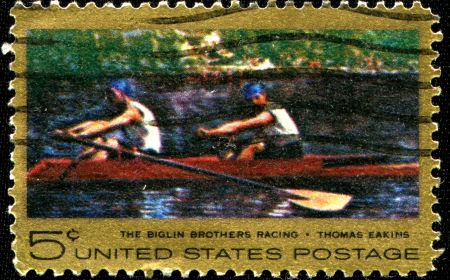 sculling: USA - CIRCA 1967  A stamp printed in USA shows The Biglin Brothers Racing  Sculling on Schuylkill River, Philadelphia , circa 1967  Editorial