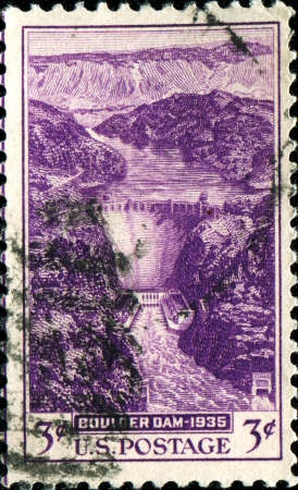 USA -CIRCA 1935  A stamp printed in United States of America shows Boulder Dam, Circa 1935