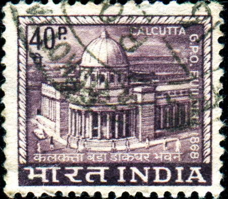 hooghly: INDIA - CIRCA 1968  A stamp printed in India shows Calcutta G P O   General Post Office , circa 1968