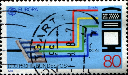 isdn: GERMANY - CIRCA 1988  A stamp printed in German Federal Republic dedicated to Transport and communication, shows the Integrated Services Digital Network  ISDN  system, circa 1988 Editorial