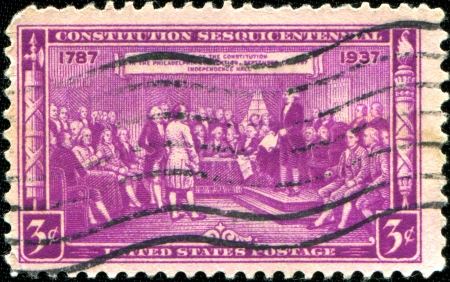 USA - CIRCA 1937  A stamp printed in the United States of America devoted to Sesquicentennial of the Signing of the Constitution, circa 1937 Stock Photo - 18798575