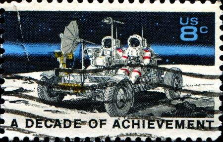 decade: UNITED STATES - CIRCA 1971  A stamp printed in United States of America dedicade Space Achievement Decade, circa 1971