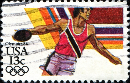 USA -CIRCA 1984  A stamp printed in United States of America shows discus thrower, Circa 1984 Stock Photo - 18798526