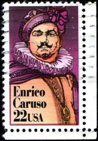 USA - CIRCA 1987  A stamp printed in the United States of America shows Enrico Caruso, Operatic Tenor, circa 1987