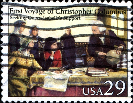 queen isabella: USA - CIRCA 1992  A stamp printed in the United States of America shows First Voyage of Christopher Columbus, Seeking Queen Isabella