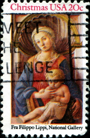 USA - CIRCA 1984  A stamp printed in the USA, shows the  Madonna and Child  by Fra Filippo Lippi, National Gallery, circa 1984