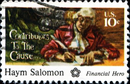 contributors: USA - CIRCA 1975  A stamp printed in the United States of America shows Haym Salomon, Financial Hero, circa 1975 Editorial