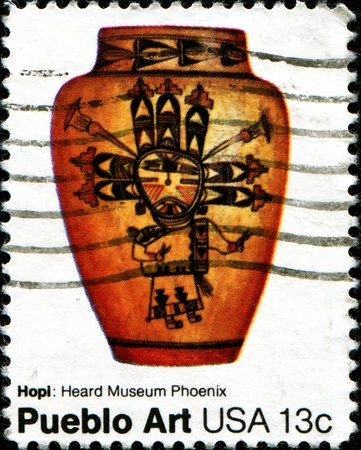 hopi: USA - CIRCA 1977: A stamp printed in the United States of America shows Hopi: Heard Museum Phoenuix, Pueblo Art, circa 1977