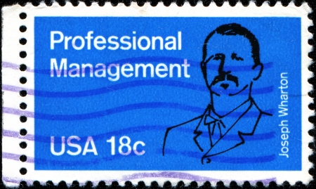 USA - CIRCA 1981  A stamp printed in the United States of America shows Joseph Wharton, Professional Management, circa 1981 Editorial
