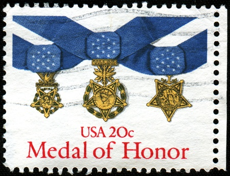 USA - CIRCA 1983  A stamp printed in the United States of America shows Medal of Honor, circa 1983 Editorial