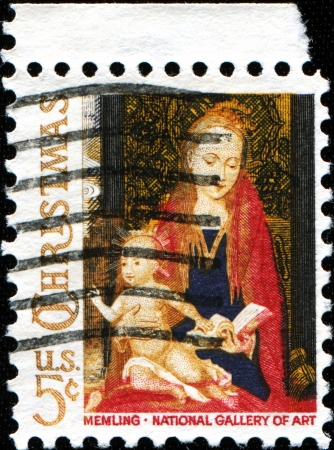 memling: USA -CIRCA 1966  A stamp printed in USA shows paint fragment from  Madonna and Child with Angels , by the Flemish artist Hans Memling  1430-1494 , National Gallery of Art, Washington, Circa 1966 Editorial