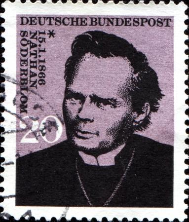 archbishop: GERMANY - CIRCA 1983  A stamp printed in German Federal Republic honoring Birth Centenary of Nathan Soderblom  Archbishop of Uppsala , circa 1983