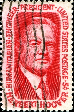 USA - CIRCA 1965: A stamp printed in the United States of America shows President Herbert Hoover, circa 1965 Stock Photo - 18798606