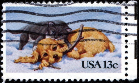 USA - CIRCA 1982: A stamp printed in the United States of America shows Kitten and Puppy, circa 1982 photo