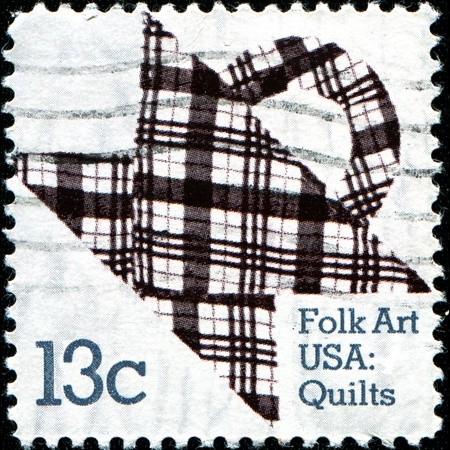 USA - CIRCA 1978: A stamp printed in the United States of America shows American Quilts, Basket Design, American Folk Art Series, circa 1978
