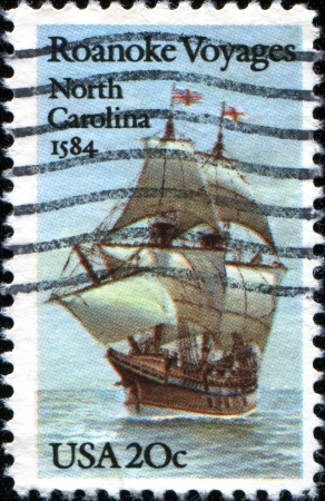 USA -CIRCA 1984: A stamp printed in United States of America honoring 400th anniversary of first Raleigh Expedition to Roanoke Voyages, North Carolina, 1584, Circa 1984