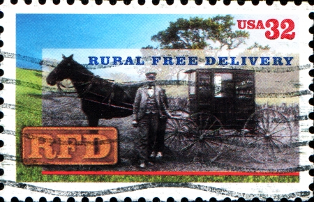 USA -CIRCA 1996  A stamp printed in United States of America shows Rural Free Delivery, Circa 1996